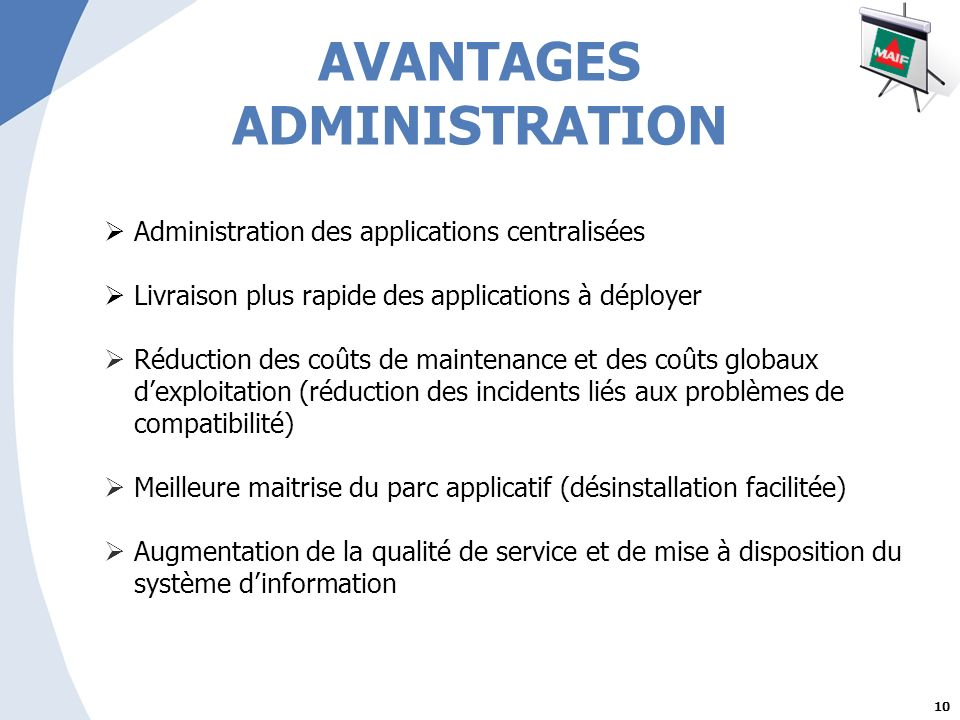 AVANTAGES ADMINISTRATION