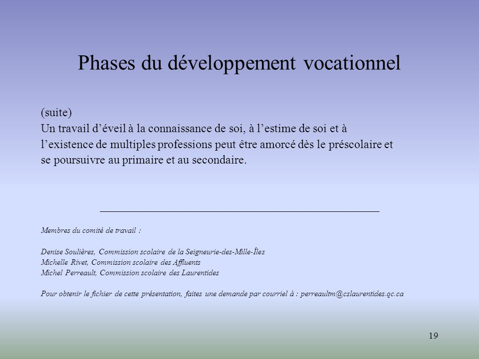 Phases du développement vocationnel