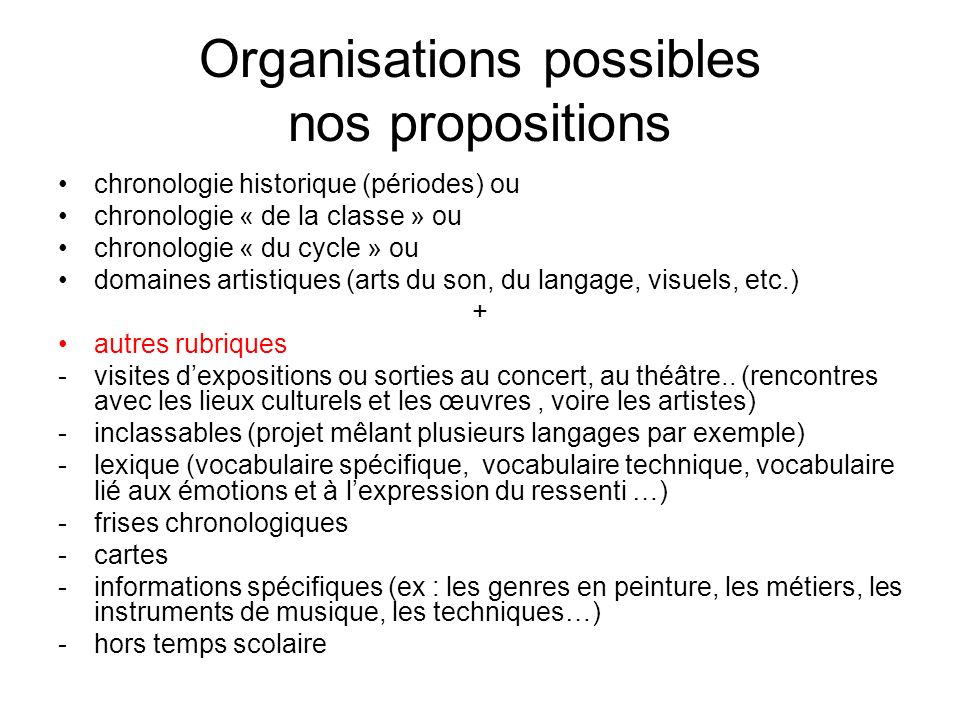 Organisations possibles nos propositions