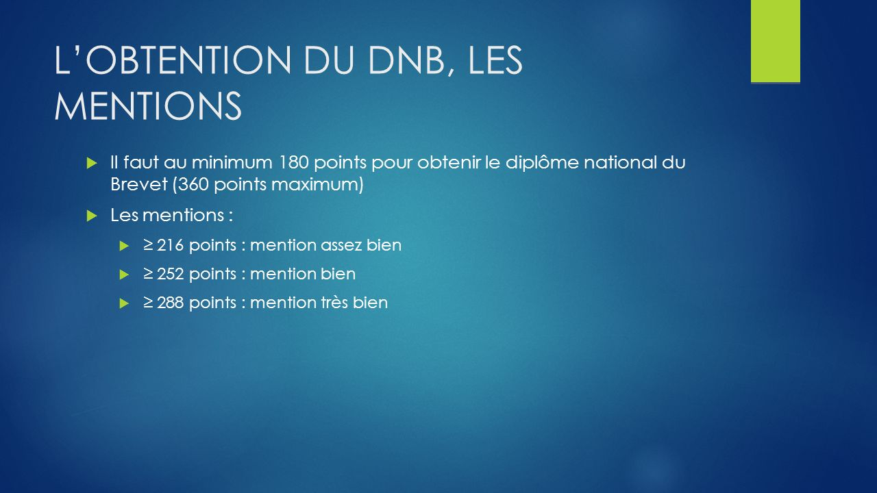 L'obtention du DNB, les mentions