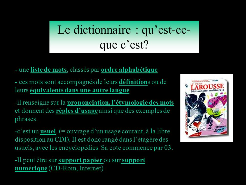 le dictionnaire un outil indispensable aux coll giens ppt t l charger. Black Bedroom Furniture Sets. Home Design Ideas