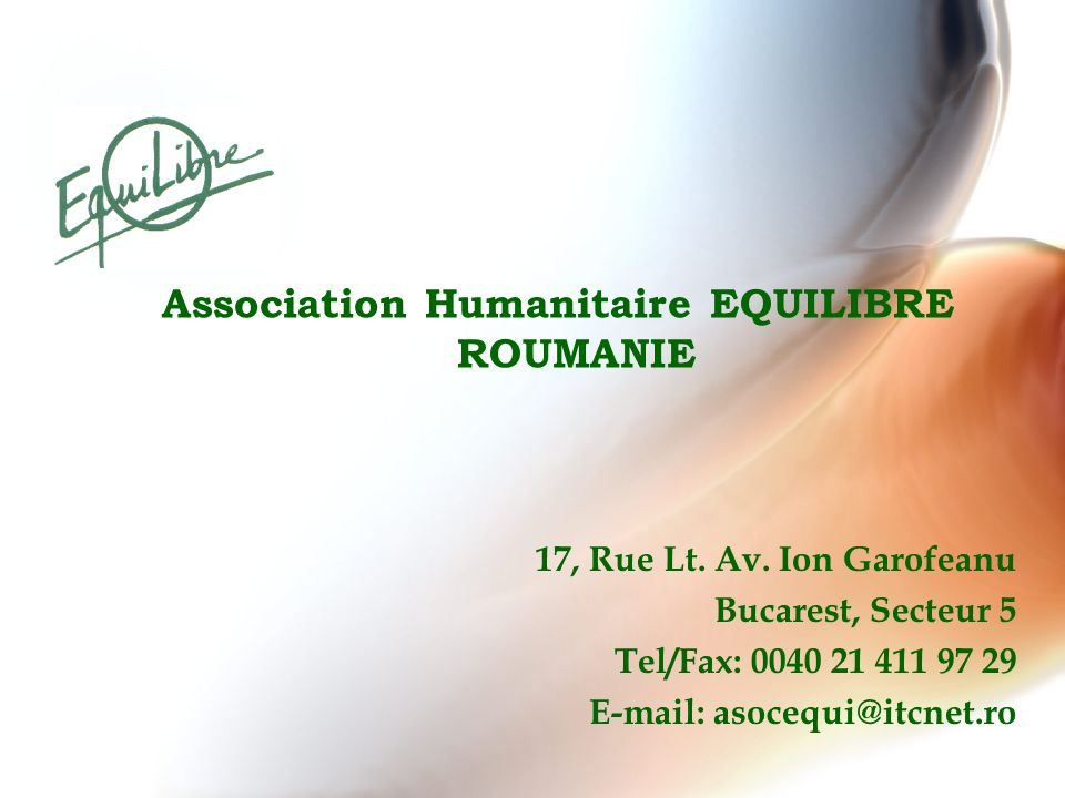Association Humanitaire EQUILIBRE ROUMANIE
