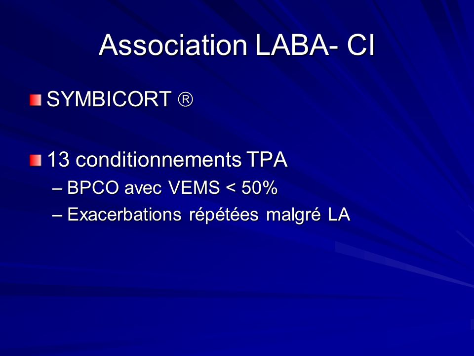 Association LABA- CI SYMBICORT  13 conditionnements TPA