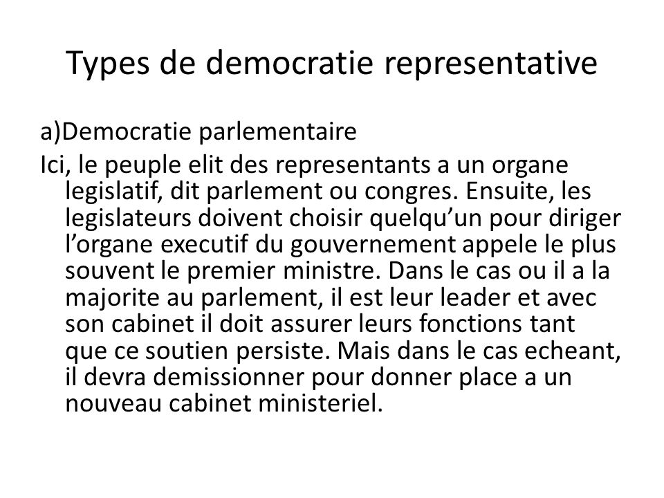 Types de democratie representative