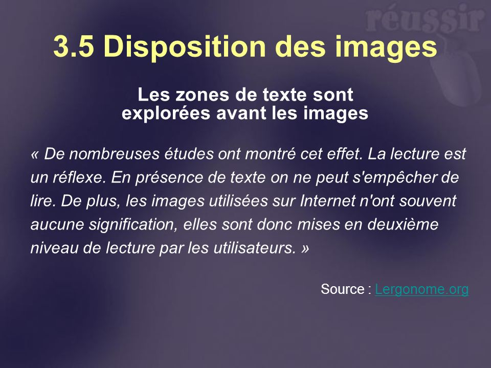 3.5 Disposition des images