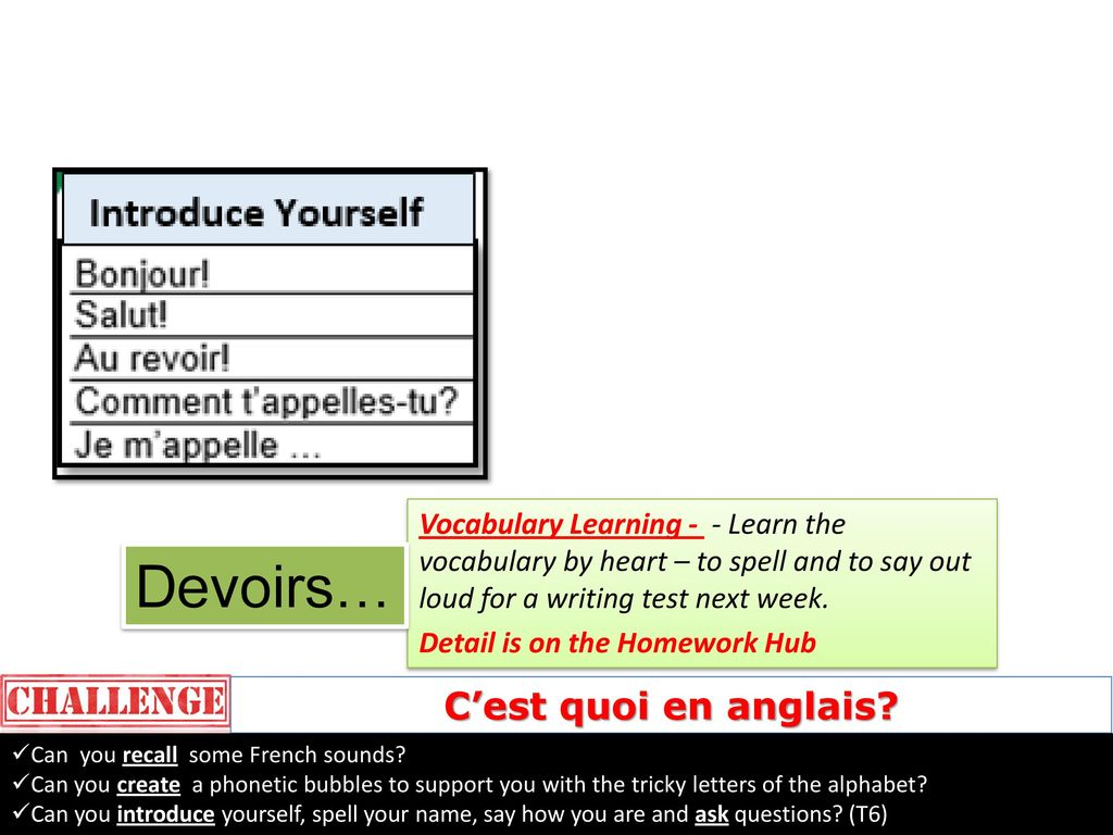 Year 7 French Homework Mme Janickyj Ppt Telecharger