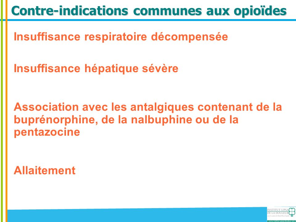 Contre-indications communes aux opioïdes
