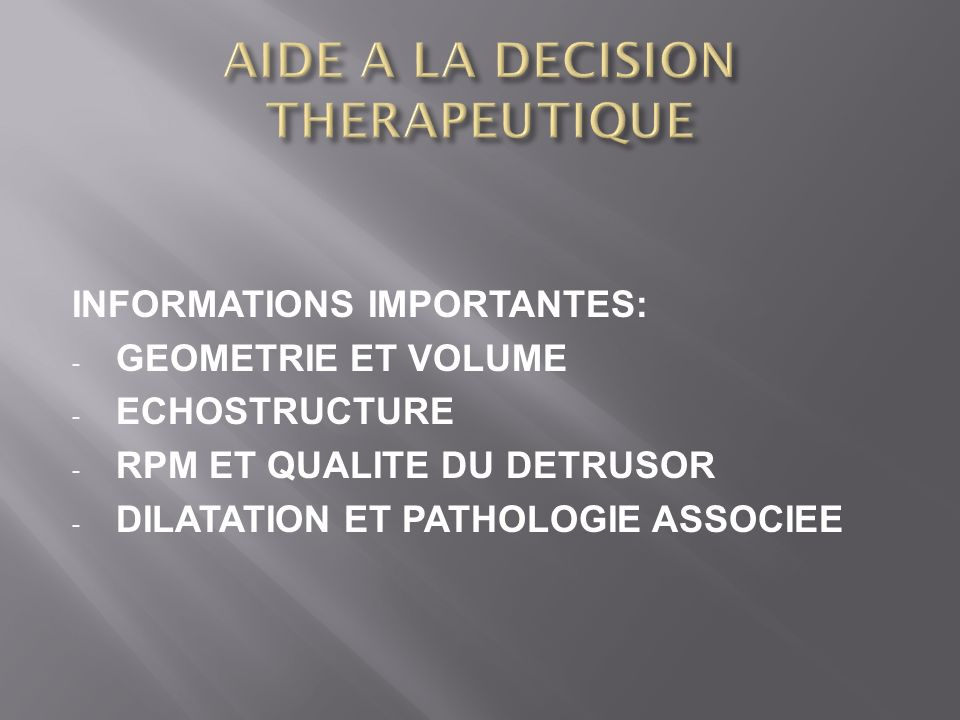 AIDE A LA DECISION THERAPEUTIQUE