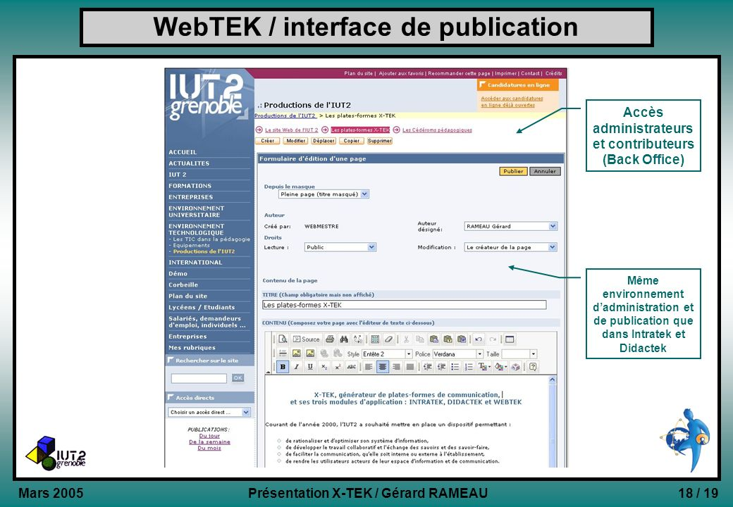 WebTEK / interface de publication