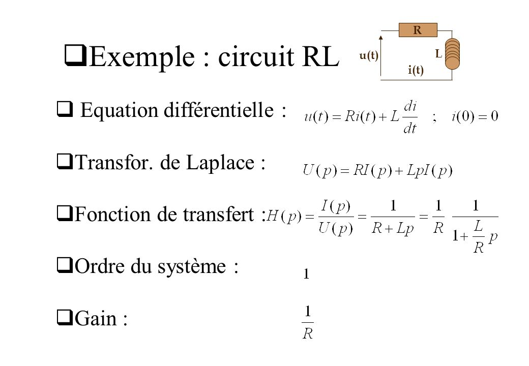 Exemple : circuit RL Equation différentielle : Transfor. de Laplace :