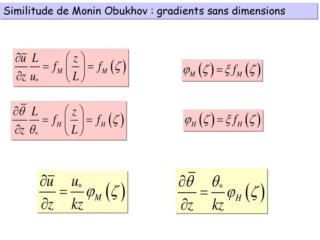 Similitude de Monin Obukhov : gradients sans dimensions