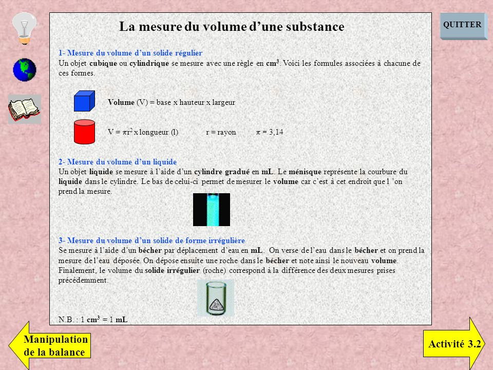 La mesure du volume d'une substance