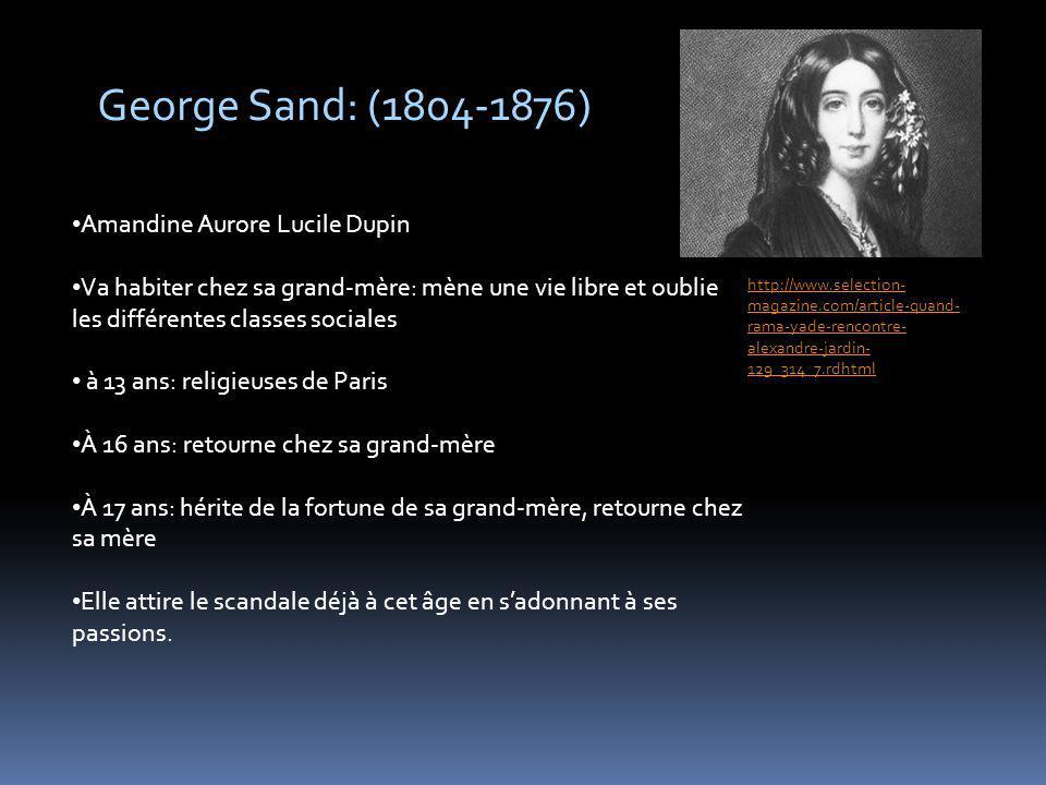 George Sand: ( ) Amandine Aurore Lucile Dupin