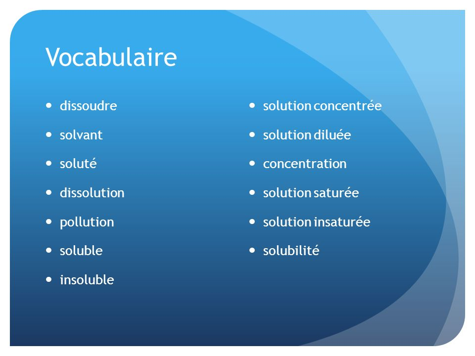 Vocabulaire dissoudre solvant soluté dissolution pollution soluble