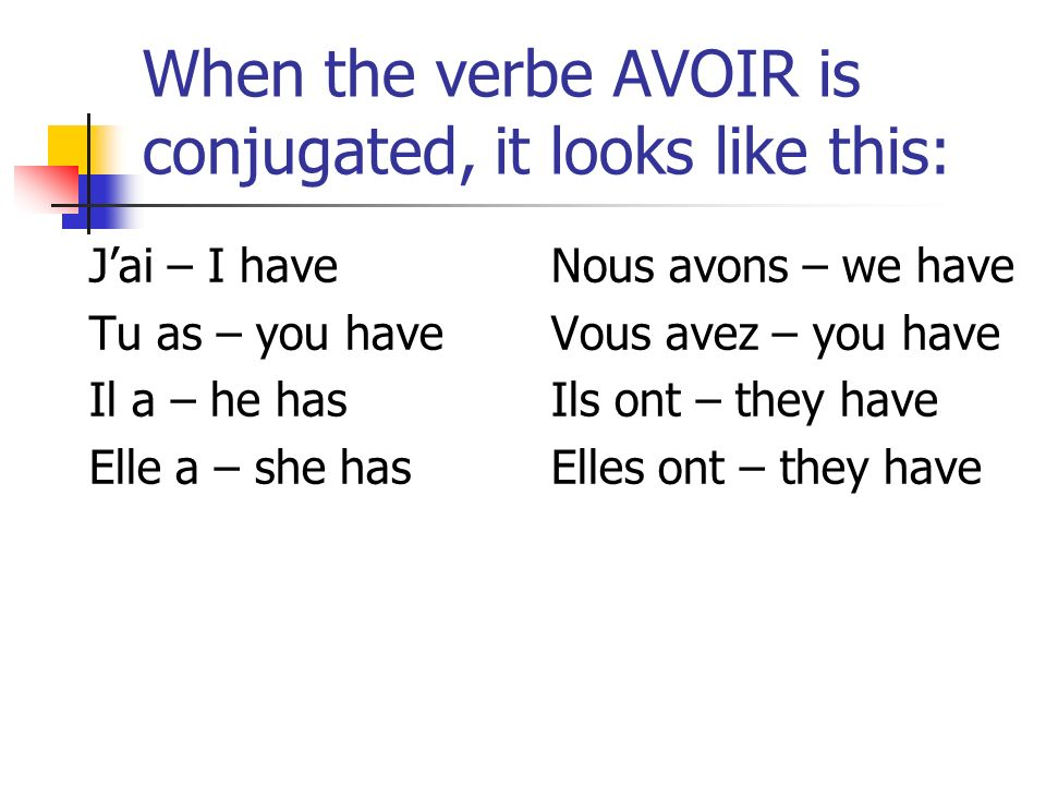 When the verbe AVOIR is conjugated, it looks like this: