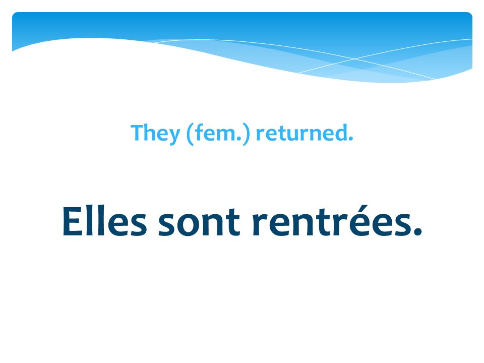 They (fem.) returned. Elles sont rentrées.
