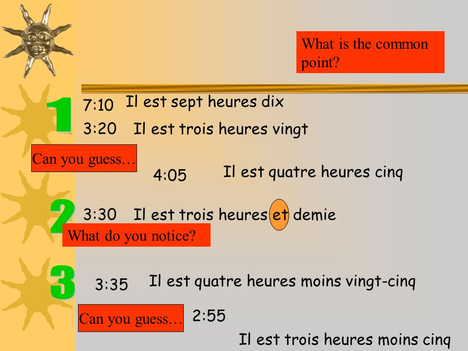 1 2 3 What is the common point Il est sept heures dix 7:10 3:20