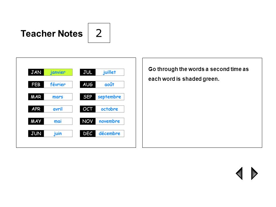 2 Teacher Notes Go through the words a second time as each word is shaded green.