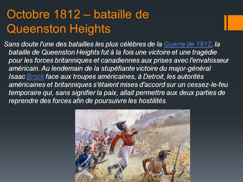 Octobre 1812 – bataille de Queenston Heights