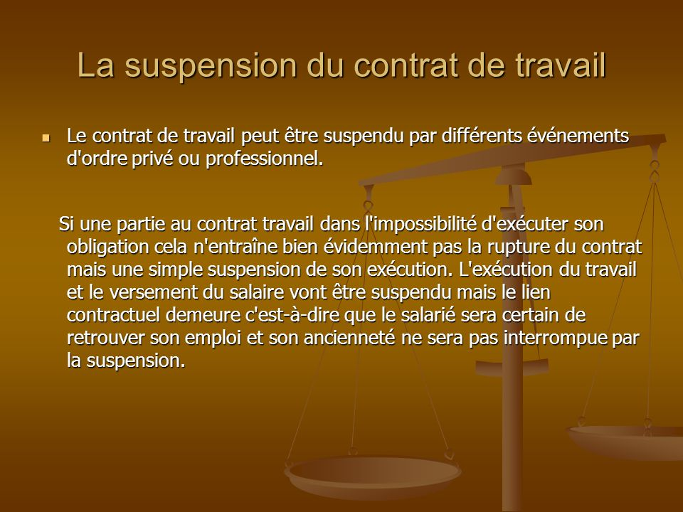 suspension d un contrat de travail La cessation et la suspension du contrat de travail   ppt video  suspension d un contrat de travail