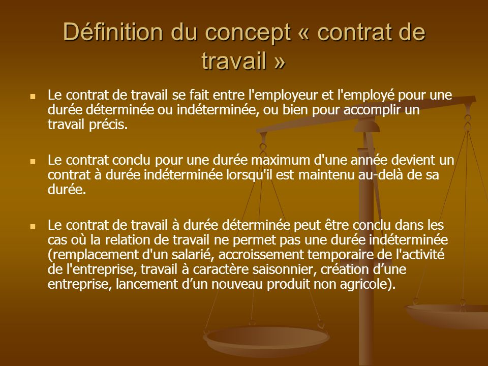 definir contrat de travail