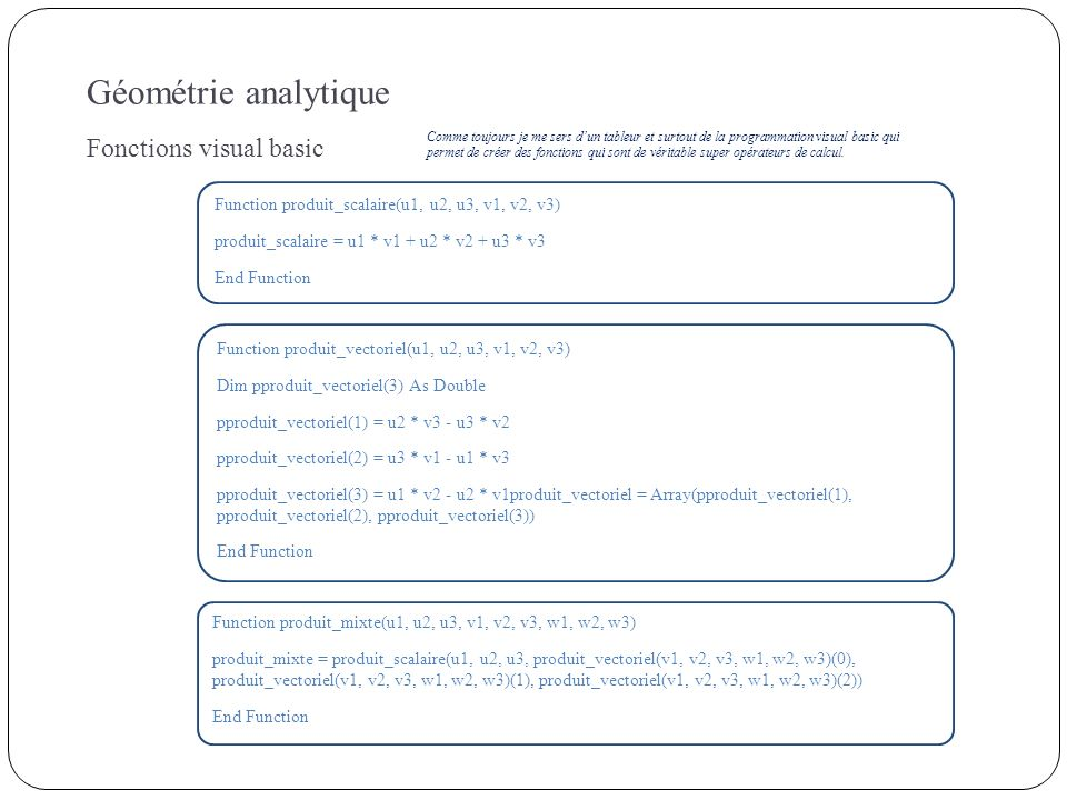Géométrie analytique Fonctions visual basic