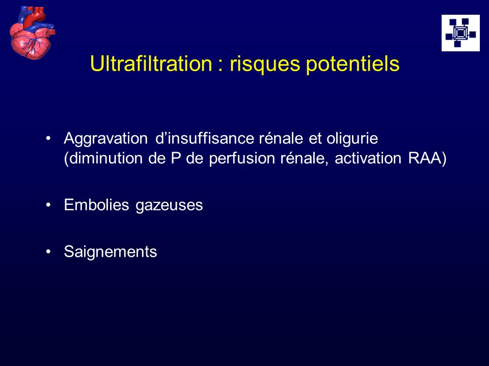 Ultrafiltration : risques potentiels