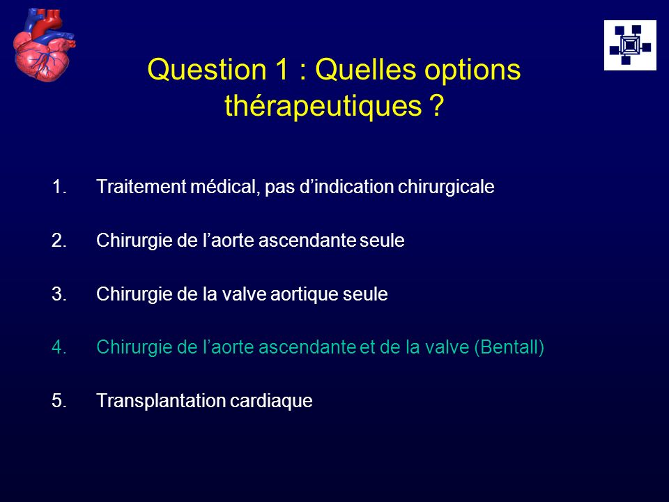 Question 1 : Quelles options thérapeutiques
