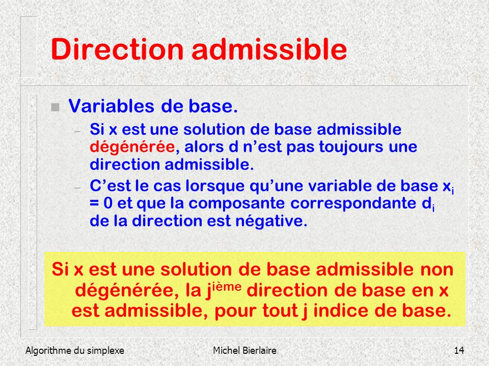 Direction admissible Variables de base.