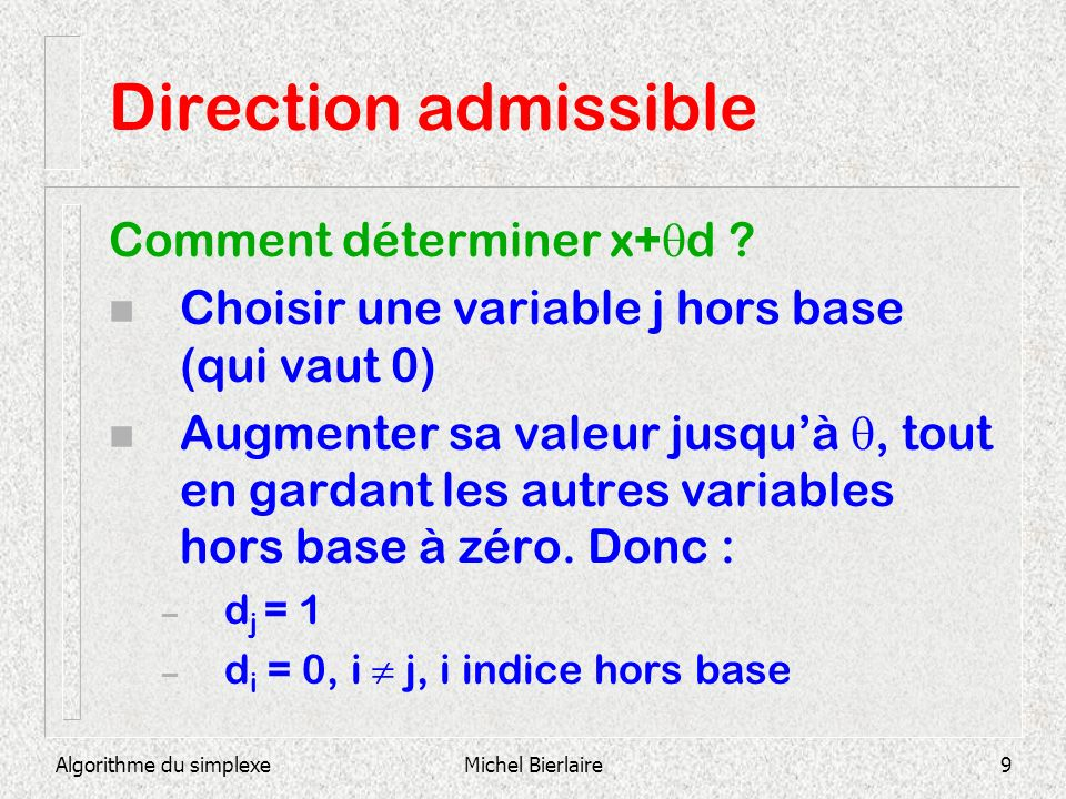 Direction admissible Comment déterminer x+d