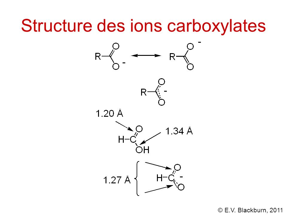 Structure des ions carboxylates
