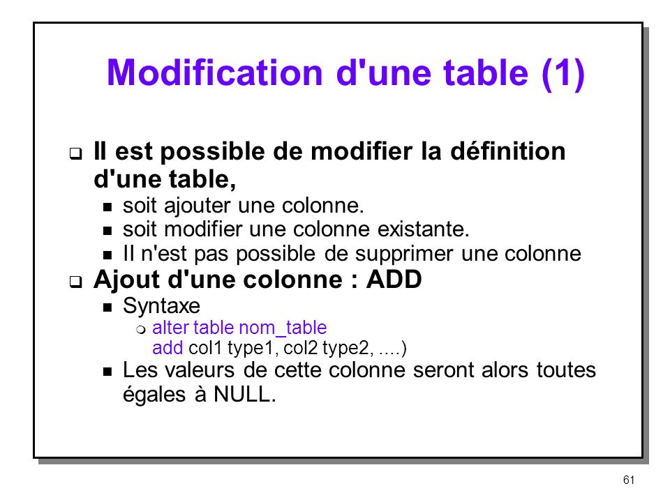 Modification d une table (1)