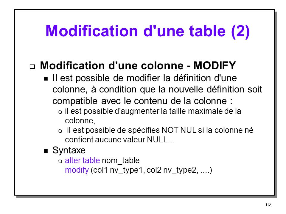 Modification d une table (2)