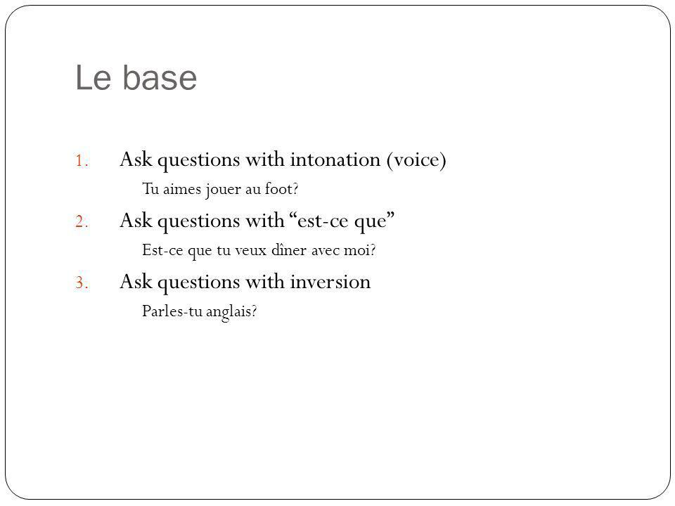 Le base Ask questions with intonation (voice)