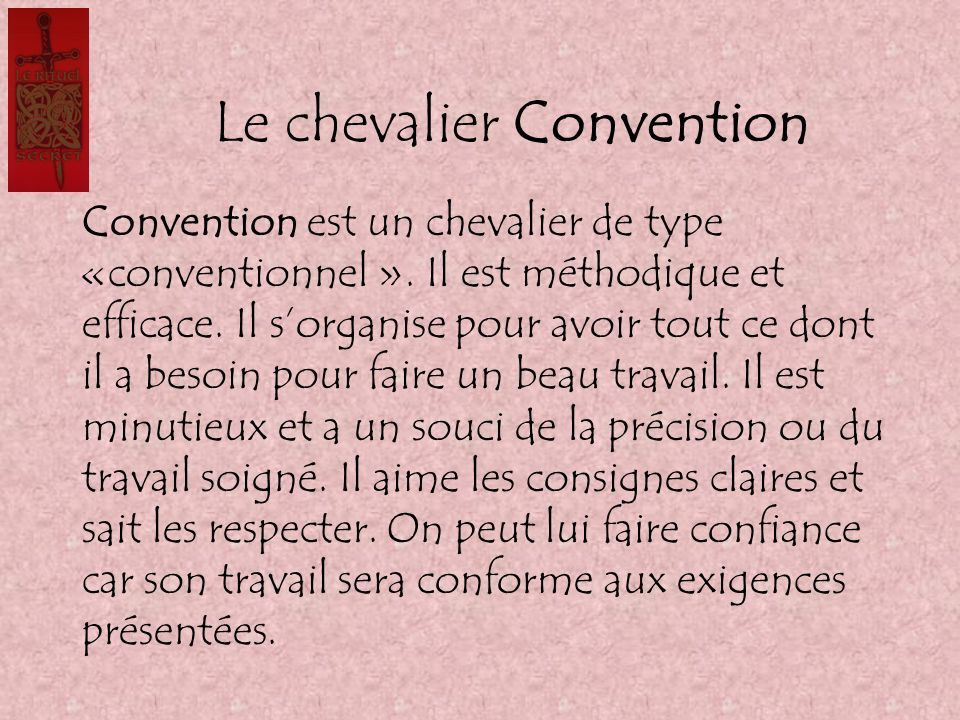 Le chevalier Convention