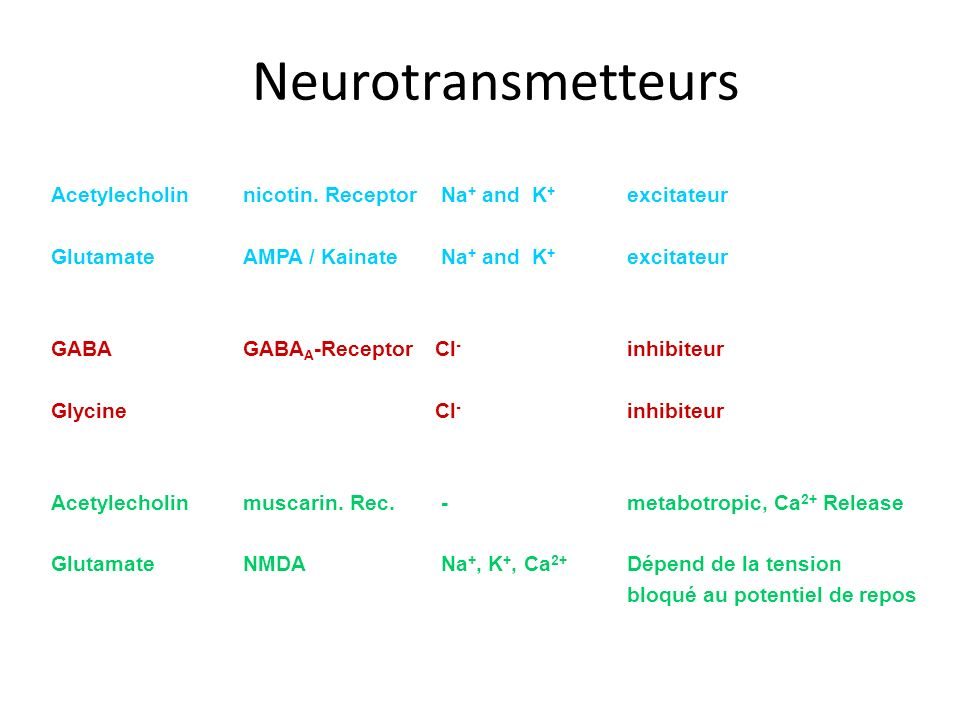 Neurotransmetteurs Transmitter Channel-typ Ion-current Action