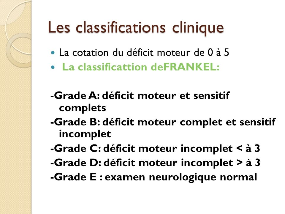 Les classifications clinique