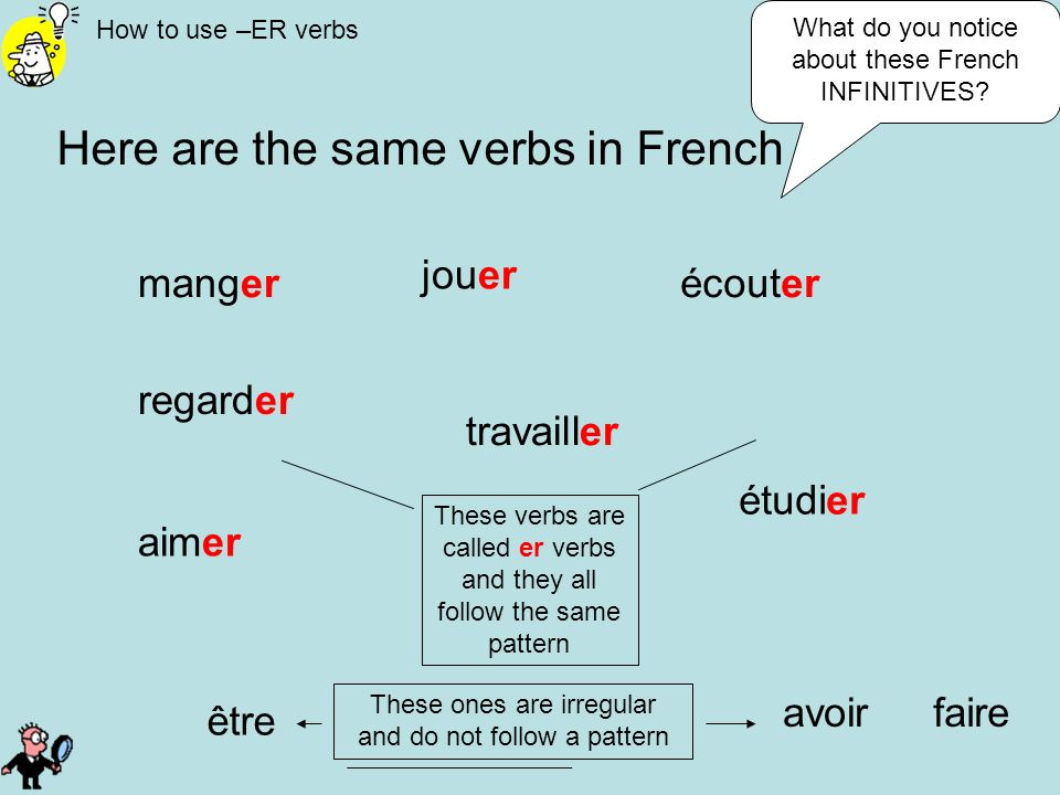 Here are the same verbs in French