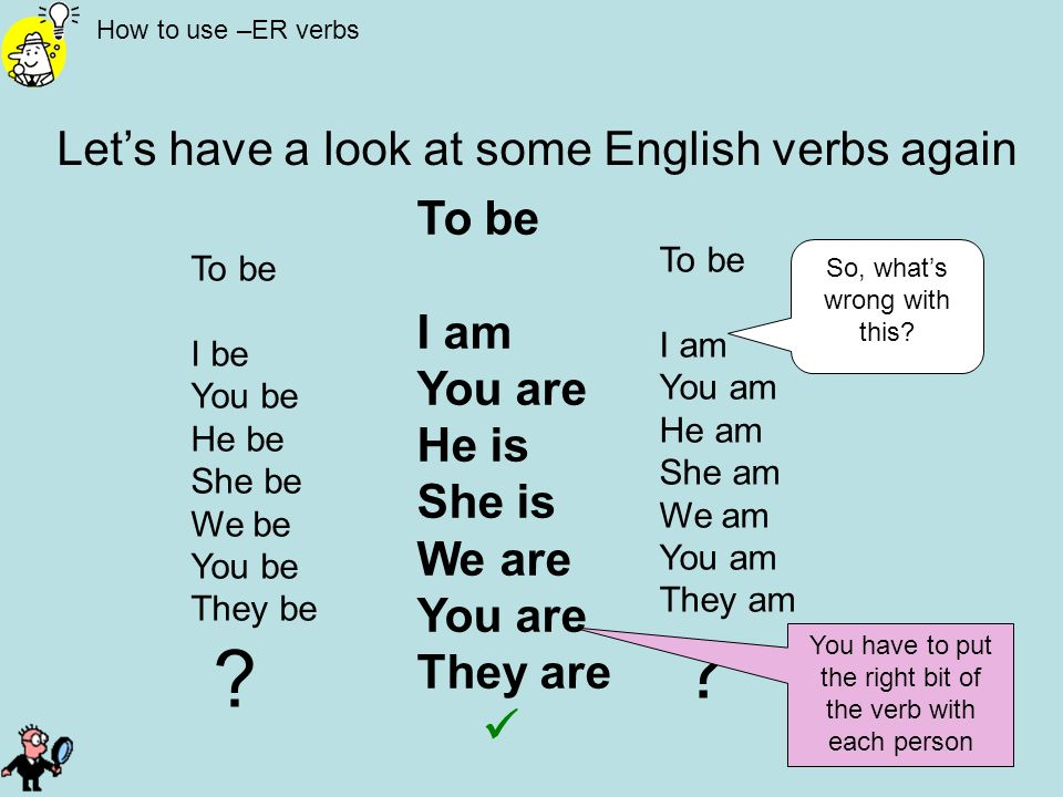 Let's have a look at some English verbs again To be I am You are