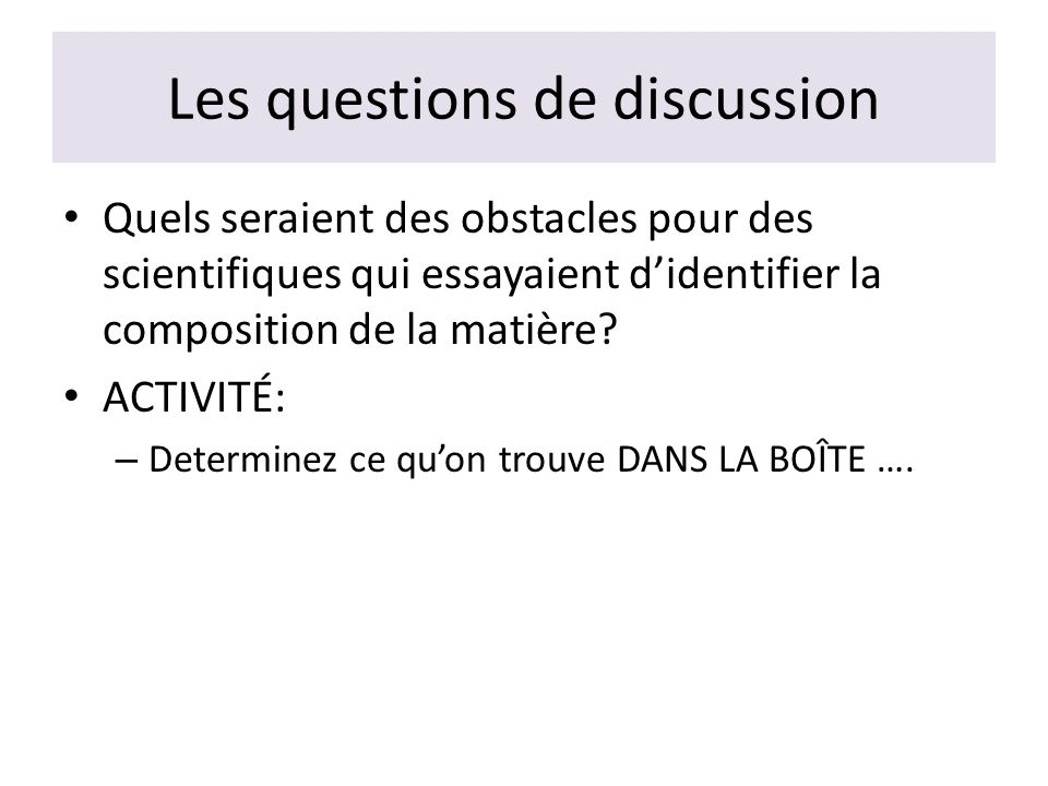 Les questions de discussion