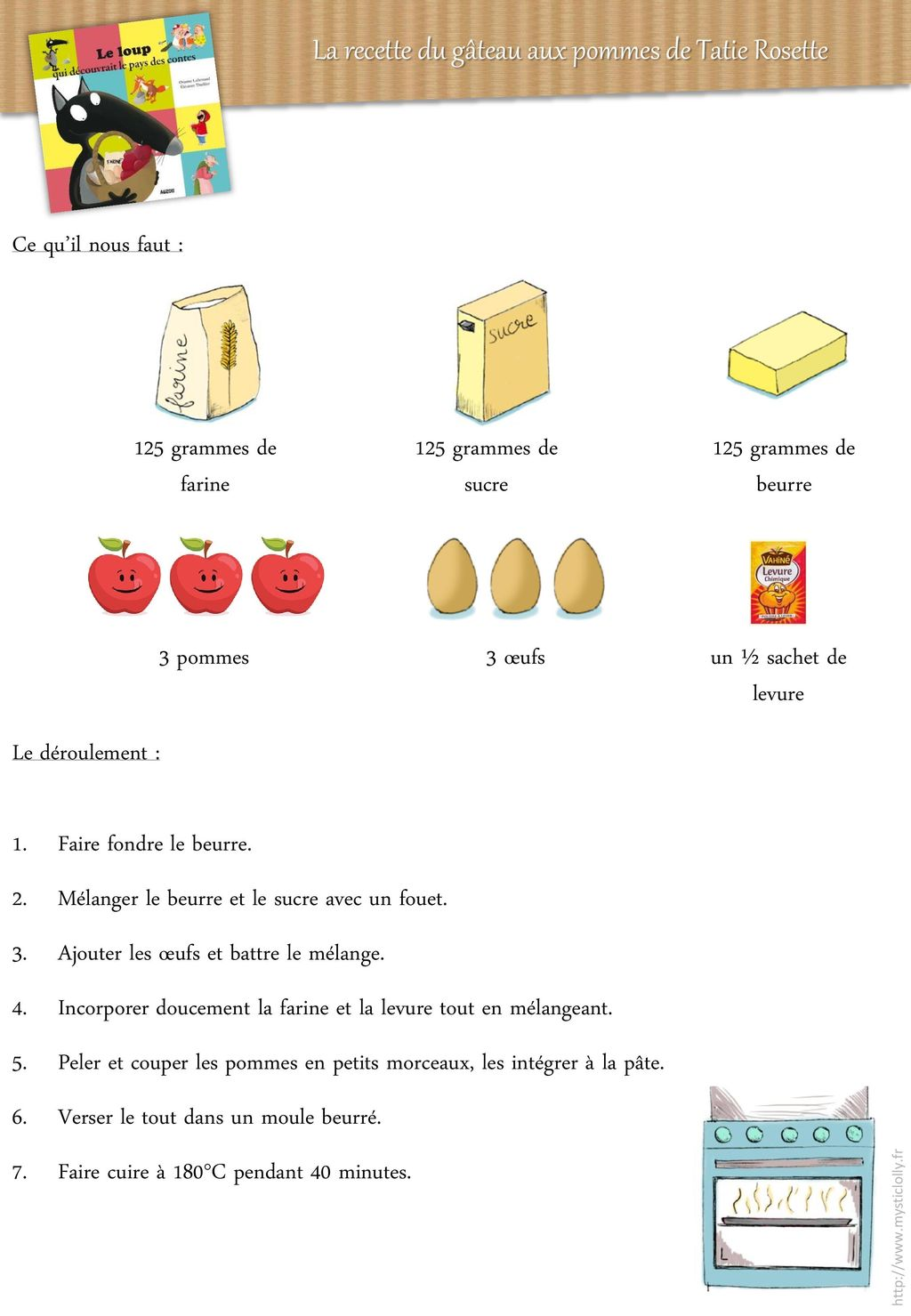 la recette du g teau aux pommes de tatie rosette ppt. Black Bedroom Furniture Sets. Home Design Ideas
