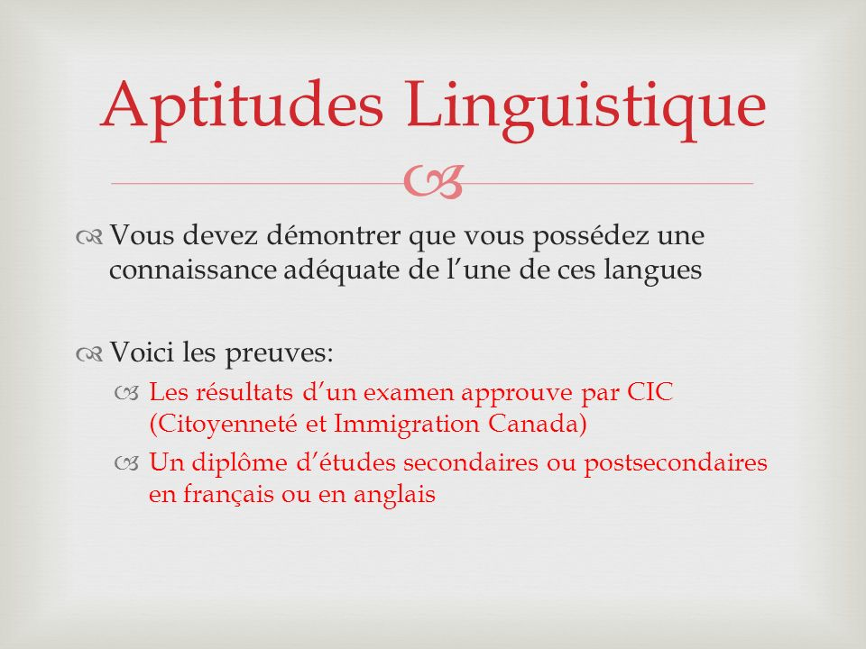 Aptitudes Linguistique