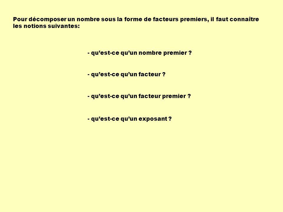Decomposer Un Nombre En Facteurs Premiers Ppt Telecharger