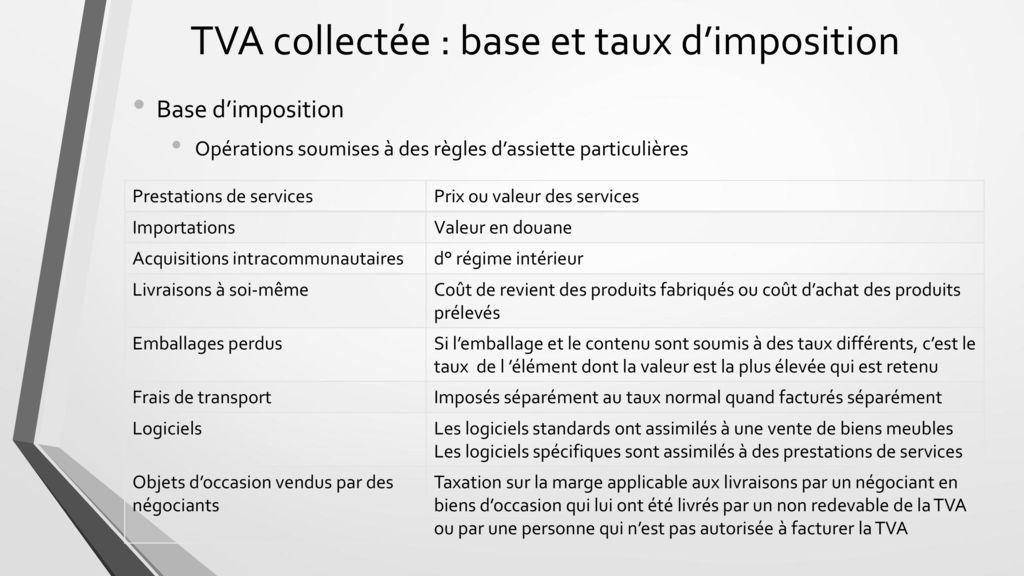 Tva Collectee Base Et Taux D Imposition Ppt Telecharger