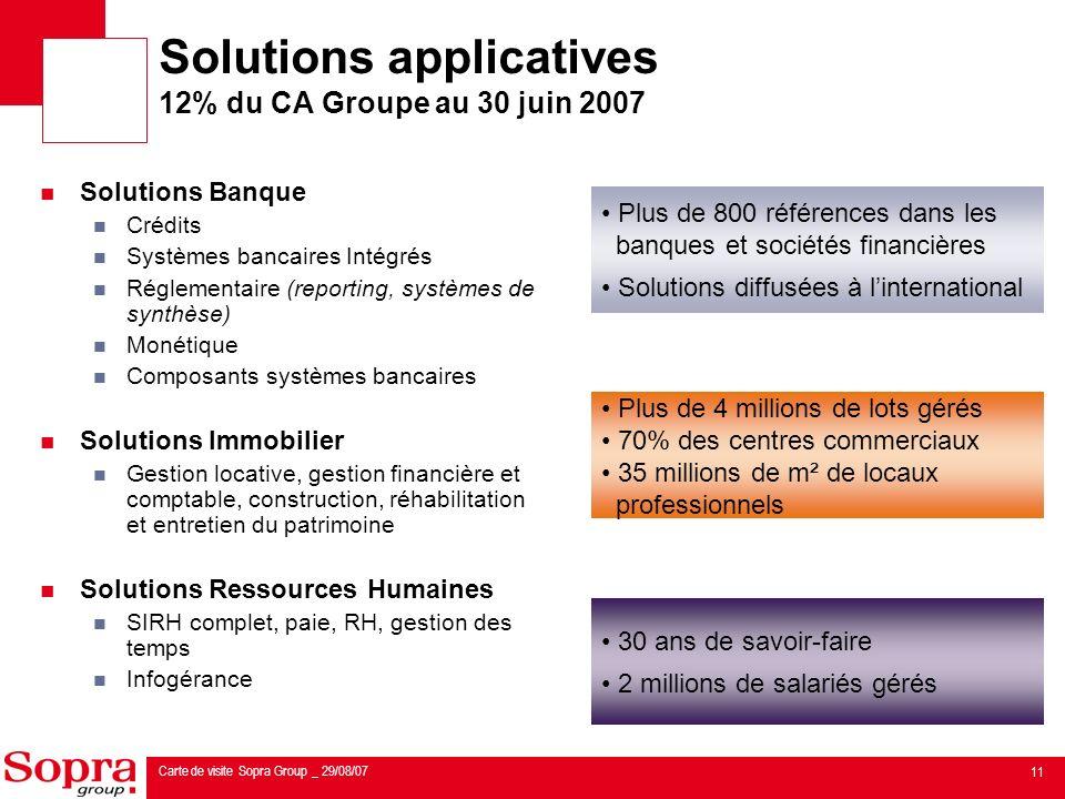 Solutions Applicatives 12 Du CA Groupe Au 30 Juin 2007