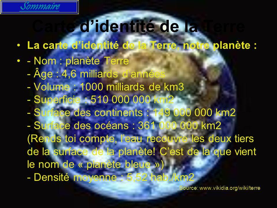 carte d identité de la terre sommaire La terre Citations sur la terre Carte d'identité de la
