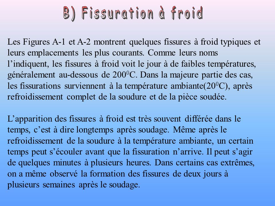 B) Fissuration à froid