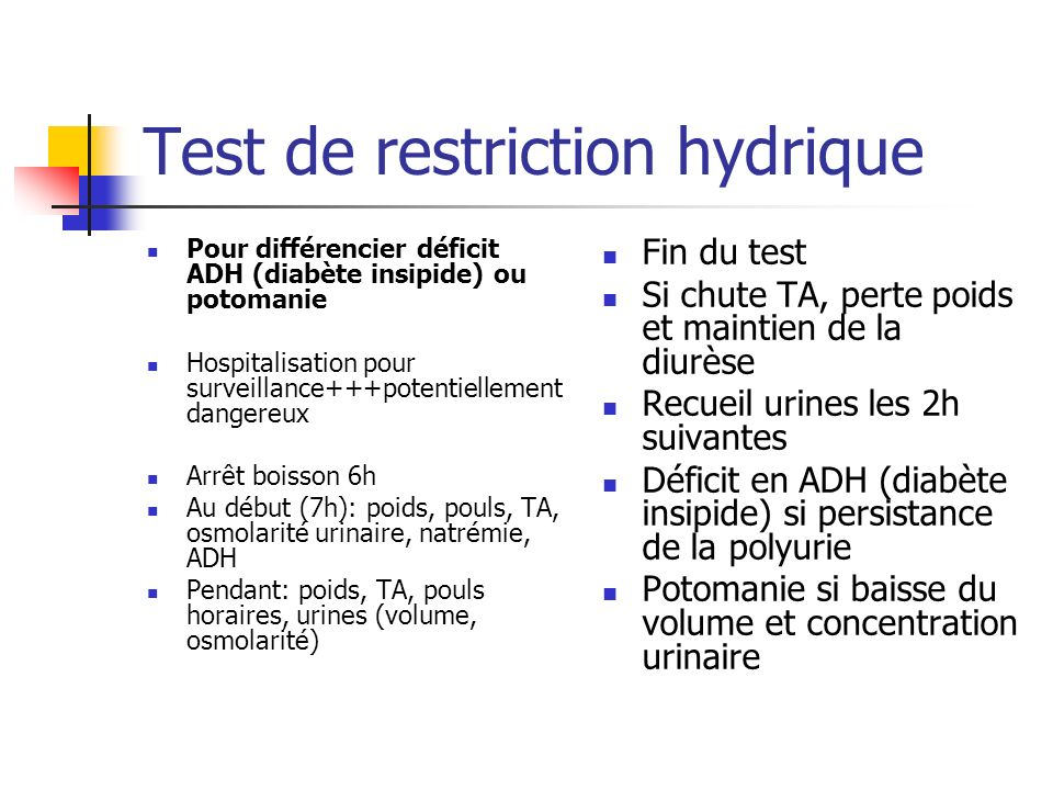 Test de restriction hydrique