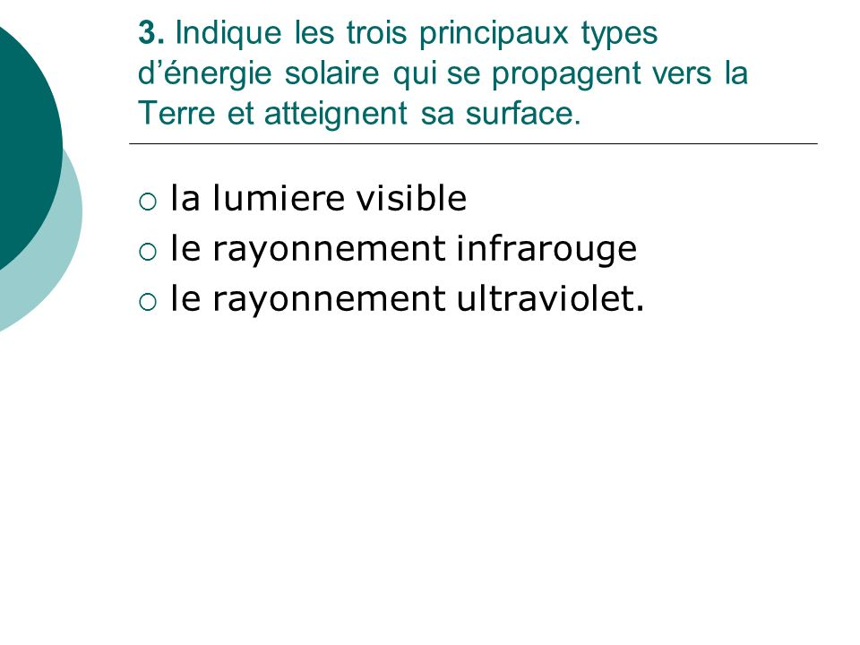 le rayonnement infrarouge le rayonnement ultraviolet.