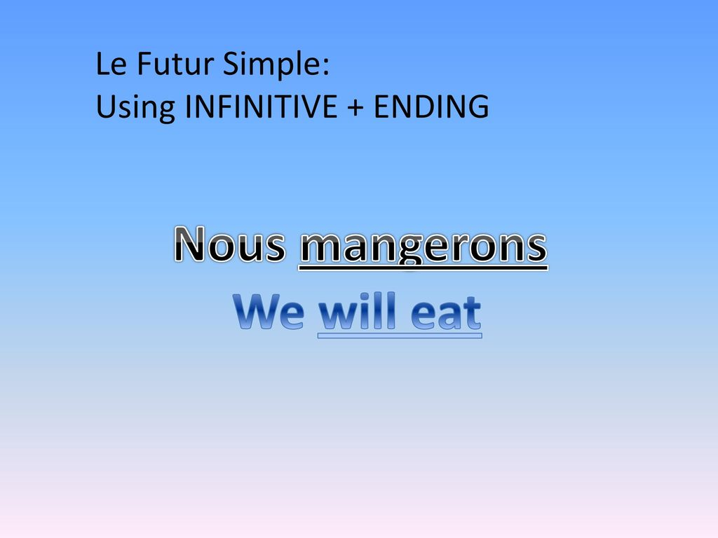 Nous mangerons We will eat